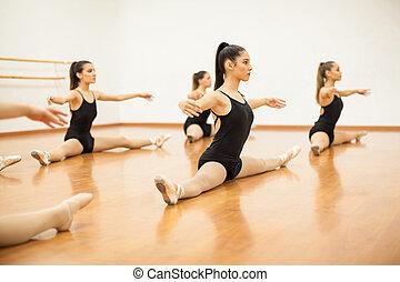 chaud, exercices, haut, femme, danseurs