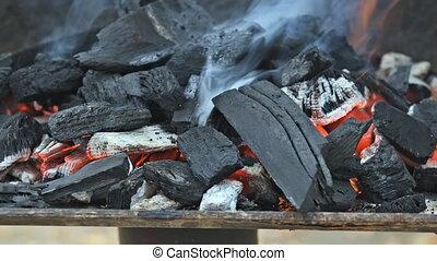 chaud, flamboyant, gril, barbecue, incandescent, charbon de bois
