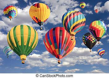 chaud, flyin, ballons, multicolore, air