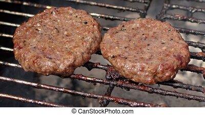 chaud, friture, viande, deux, fumer, mouvement, hamburger, ...