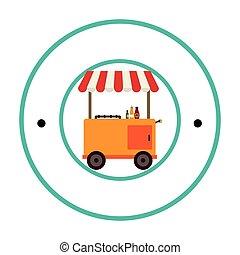chaud, frontière, chien, charrette, circulaire