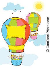 chaud, gosses, balloon, air