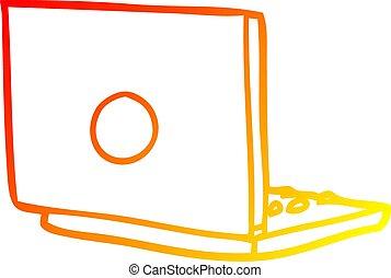 chaud, gradient, ordinateur portatif, dessin ligne