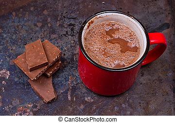 chaud, grande tasse, chocolat