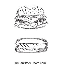 chaud, hamburger, chien