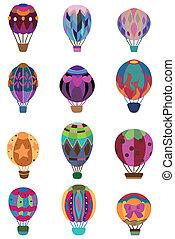 chaud, icône, balloon, dessin animé, air