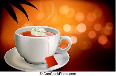 chaud, illustration, thé