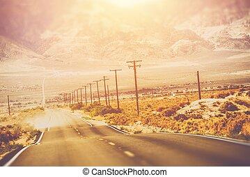 chaud, jour, route, désert