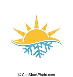 chaud, logo, signe, symbole., froid, climatiseur, air