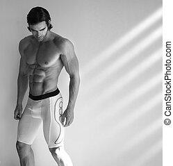 chaud, mâle, modèle, fitness