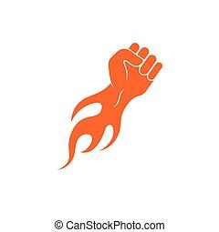 chaud, main, vecteur, fort, illustration, brûler