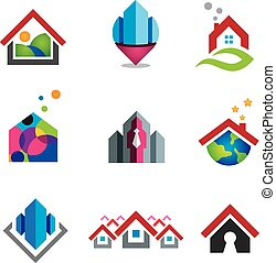 chaud, maison dans, petit, social, global, co