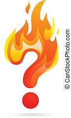 chaud, marque, question, icône