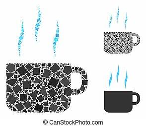 chaud, mosaïque, tasse thé, cahoteux, articles, icône