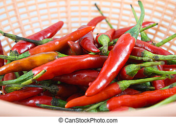 chaud, peppers., piment, rouges