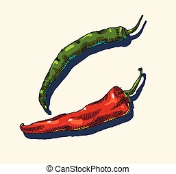 chaud, peppers., piment vert, rouges