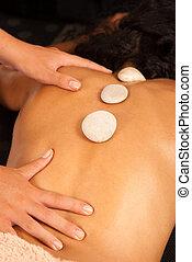 chaud, pierres, massage.