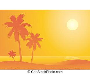 chaud, plage, voyage, fond