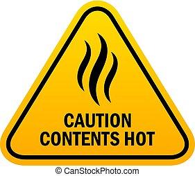 chaud, prudence, contenu, signe
