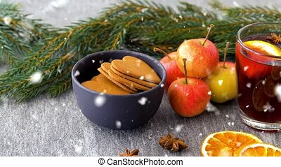 chaud, sapin, verre, vin chaud, pommes, biscuits