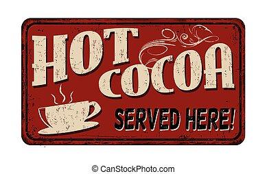 chaud, signe, vendange, métal, cacao