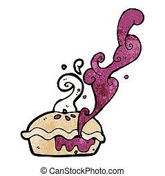 chaud, tarte cerise, dessin animé