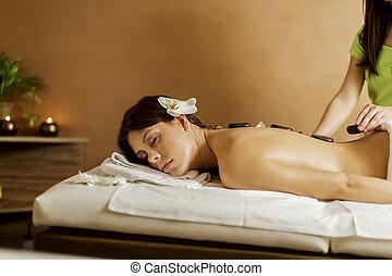 chaud, thérapie, pierre, masage