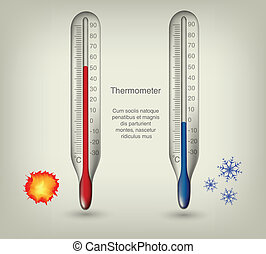 chaud, thermomètre, froid, températures, icônes