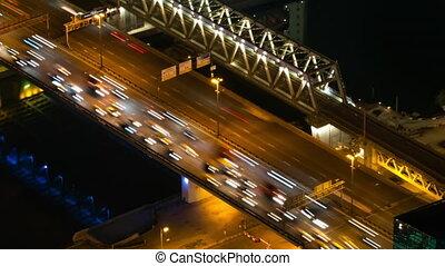 chaud, trafic, voitures, timelapse:, lumière, en mouvement, rue, jeûne, nuit