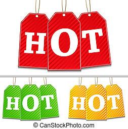 chaud, vecteur, étiquettes, signe