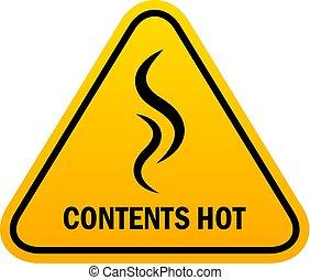 chaud, vecteur, avertissement, contenu, signe