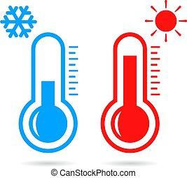 chaud, vecteur, froid, température, icône