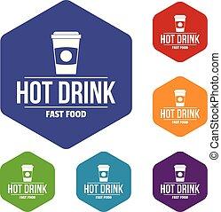 chaud, vecteur, hexahedron, boisson, icônes