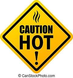 chaud, vecteur, signe prudence