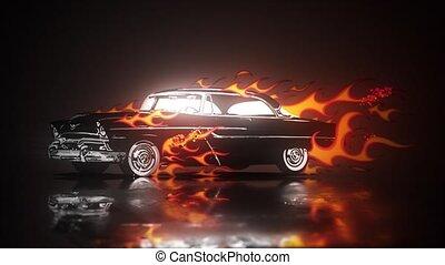 chaud, voiture, hotrods, vieux, tige, garage, vendange, école