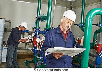 chaudière, ingénieur, réparateur, salle, chauffage