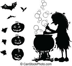 chaudron, silhouette, pumpkins., isolé, chauves-souris, ensemble, vieux, halloween, objets, tout, noir, one-colour, dessin animé, 3, sorcière, elle, silhouettes, cuisinier, quelque chose