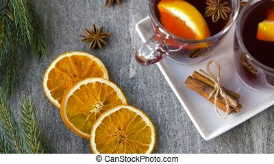chauffé, lunettes, orange chaude, épices, vin