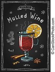 chauffé, verre., dessiné, craie, noël, chaud, vin, boissons, illustration, coloré