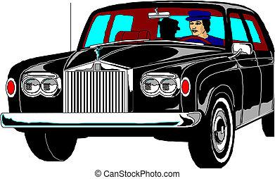 chaufför, bil