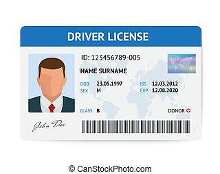 chaufför, kort, mall, licens, vektor, man, lägenhet, illustration, plastisk, id