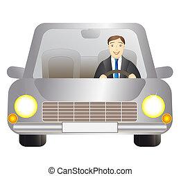 chaufför, man, in, silver, bil