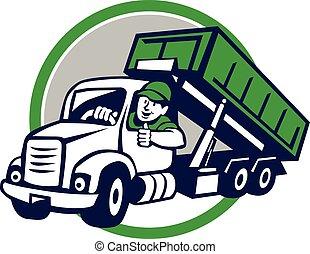 chaufför, roll-off, cirkel, uppe, tecknad film, lastbil, lår, tummar
