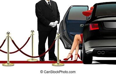 chauffør, åbning, sort, limousine, dør, by, kvinder, ind, rød klæd