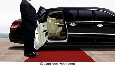 chauffør, venter, og, beliggende, næste til, den, sort, limousine, på, en, rød gulvtæppe
