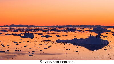chauffage, glacier, icebergs, -, changement, icefjord, climat, fondre, global