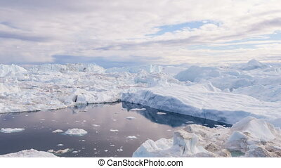 chauffage, icebergs, glacier, -, changement, icefjord, climat, fondre, global