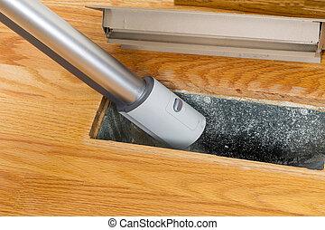 chauffage, nettoyage, intérieur, conduit, plancher, aspirateur
