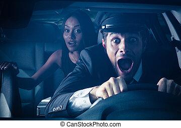 chauffeur, auto frau, absturz, erhält