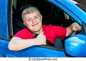 chauffeur, bas, t, jeune, voiture., syndrome